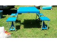 Blue fold up travel picnic table camping
