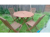solid wood garden table with 4 chairs