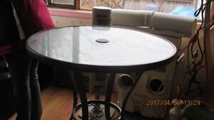 """36"""" High Patio Glass Top Table"""