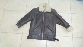 STUNNING BOYS/GIRLS KIDS GENUINE LEATHER /SHEEPSKIN AVIATOR FLYING JACKET