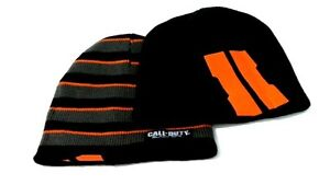 Call of Duty Black Ops 2 Reversible Beanie Cap Hat Headwear Black Orange Gray