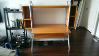 Light brown desk with two removable bookshelf
