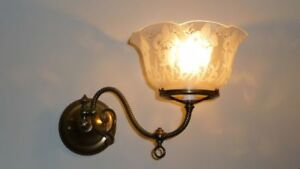 Art Nouveau etched glass wall sconce