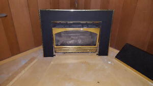 Gas fireplace complete unit with fascia and mantle