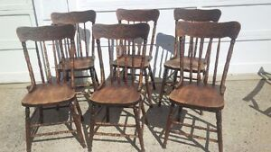 Antique , 6 Pressback Chairs,Eastern Victoriaville PQ. smoky lk