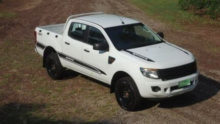 2012 Ford Ranger PX XL Double Cab White 6 Speed Manual Utility Winnellie Darwin City Preview