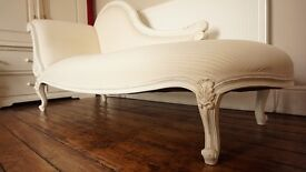 Hand crafted, hand carved, shabby Chic White/Ivory Cream Chaise Longue
