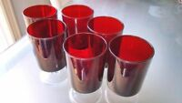 Set of six red glasses. $3 for all.