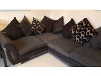 Shannon Black Faux suede and Grey fabric Right hand facing pillow back corner sofa