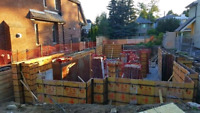 Concrete foundation, house addition, forming footing