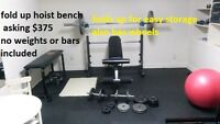 hoist fold up bench press/squat rack