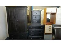 wardrobe,black painted pine wardrobe+chest of drawer+bed side cabinet just for £219
