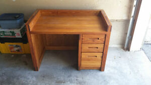 SOLID WOOD DESKS (2) AND SHELF