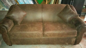 Leather Suede Pull Out Couch