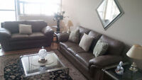 Real Leather Beige Sofa Set (3 pieces) / Free Delivery!