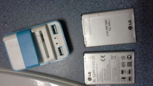 2 LG G3 Batteries + Battery Charger