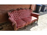 Queen anne french style sofa wood upcholstery!