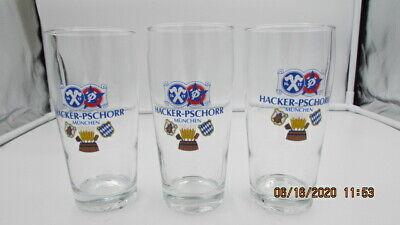 3 VINTAGE HACKER-PSCHORR GERMAN BEER GLASS .3 LITER RUHRGL MUNCHEN MUNICH