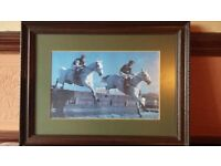 Horse Racing Picture in Frame - 2 Greys