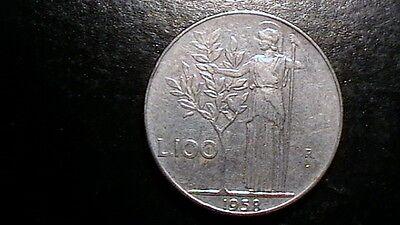 100 Lire 1958 R Italy  AU Olive Tree  Lira KM96.1  736B3