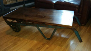 Industrial coffee table luggage cart