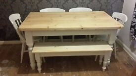 Solid Pine Farmhouse Table, Chairs and Bench Set