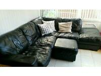 Leather corner sofa and footstool