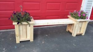 BENCH WITH FLOWER POTS