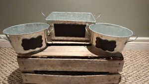 3 Galvanized Buckets with chalkboards
