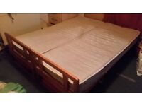 Wooden double bed/ two single beds convertible sofa with mattresses