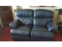 Leather two seater reclining sofa dark blue nearly black