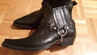 Real leather cowboy motorcycle boots!
