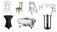 chairs, tables, chafing dish party rentals