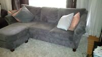 Apartment size sectional charcoal corduory couch - like new.