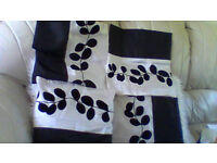 6 black and cream cushion covers in excellent condition modern flower design