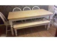 Solid Pine Farmhouse Table abd Chairs + Bench Set- Freshly Painted and Waxed