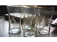 Vintage schooner glasses x 5