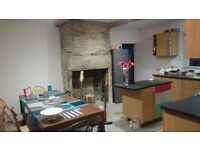 Double room in a cottage on a quiet lane with lovely gardens. Spacious living room & kitchen/diner.