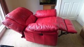 Red leather electric recliner armchair