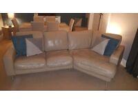 Left hand corner sofa, 2 seater sofa & footstool.