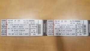 2 tickets to Guns N' Roses in Vancouver on September 1, 2017