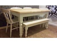 Solid Pine Farmhouse Table and Chairs + Farmhouse Bench Set - Freshly Painted and Waxed