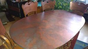 Copper Dinning Table and Four Chairs