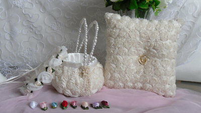 - Ring-bearer pillow, flower girl basket and floral crown