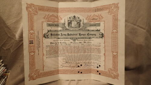 1904 SALVATION ARMY Industrial Home STOCK CERTIFICATE Historical Document