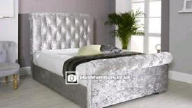 Luxury crush and plush velvet sleigh bed