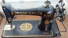 SINGER TREADLE SEWING MACHINE - made1933- PAINTED + CARVED DETAIL North Bondi Eastern Suburbs Preview
