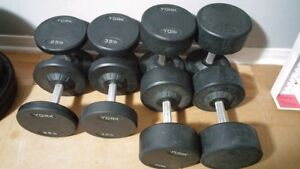 Commercial Grade Round Rubber Dumbbells - 25/35/70/75LBS