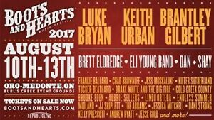 Boots and Hearts Music Festival Hard Copy Tickets August 10th-13