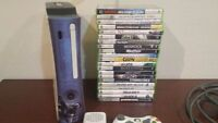 White xbox 360 with 21 games and extras